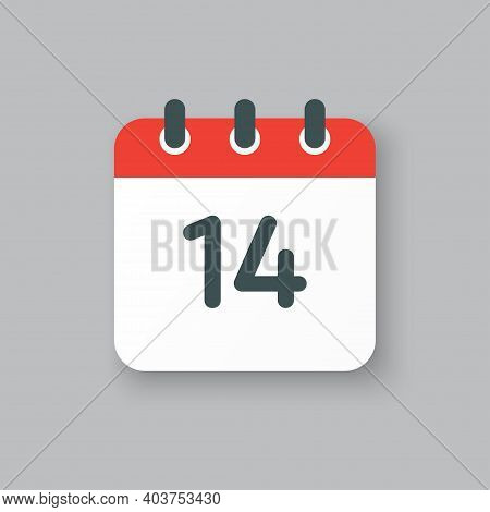 Vector Icon Calendar Day Number 14, 14th Day Month