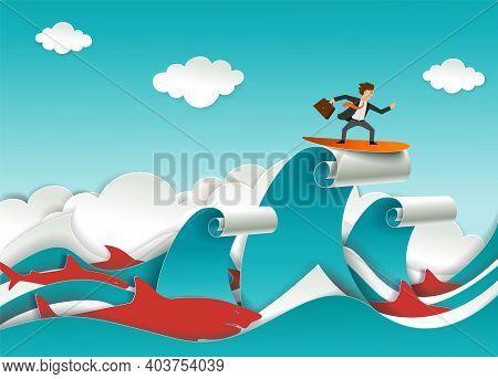 Businessman Accompanied By Predatory Shark Fish Surfing Ocean Waves. Vector Illustration In Paper Ar
