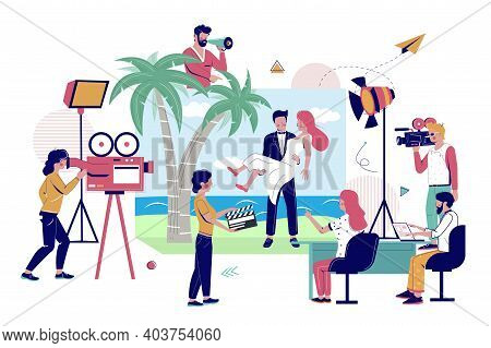 Camera Crew Shooting Clip With Happy Couple On Beach, Flat Vector Illustration. Music Clip Productio