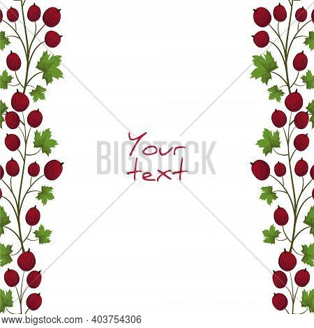 Vector Gooseberry Frame; Red Gooseberry Borders For Greeting Cards, Invitations, Posters, Banners.