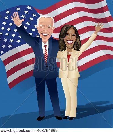 Asheville Nc, January 17, 2021. Caricature Of Joe Biden And Kamala Harris, President And Vice Presid