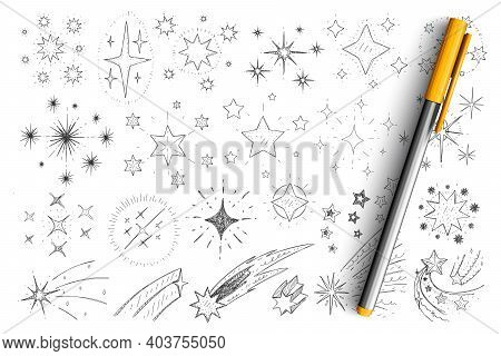 Stars And Comets Doodle Set. Collection Of Hand Drawn Minimal Silhouettes Of Stars, Comet, Constella