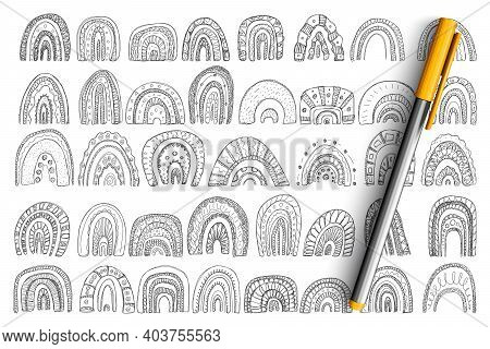 Arches And Rainbows Shapes Doodle Set. Collection Of Hand Drawn Arches Shapes Of Different Layers Si