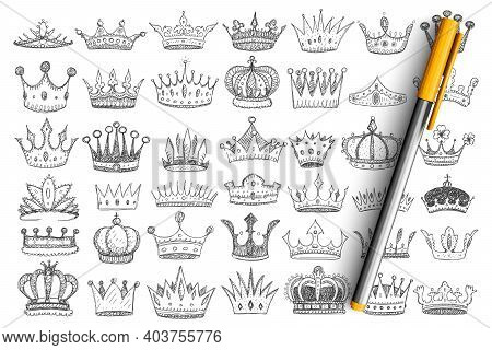 Elegant Crowns For Kings Doodle Set. Collection Of Hand Drawn Stylish Crowns Accessories Headwear Fo