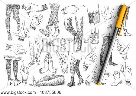 Legs And Hands Doodle Set. Collection Of Hand Drawn Human Hands Expressing Peace, Ok And Pointing At