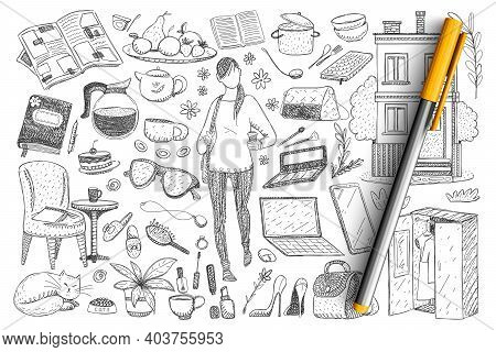 Feminine Everyday Essentials Doodle Set. Collection Of Hand Drawn Woman And Cat, Clothes, Footwear,