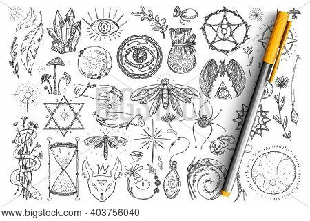 Magic And Occult Symbols Doodle Set. Collection Of Hand Drawn Spiritual Eyes, Snakes, Crystals, Inse