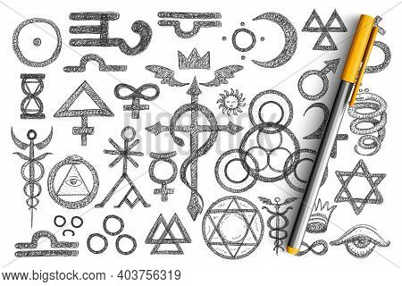 Various Alchemical Symbols Doodle Set. Collection Of Hand Drawn Barberry Raspberry, Arrowroot, Chamo