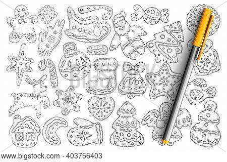 Christmas Gingerbread And Biscuits Doodle Set. Collection Of Hand Drawn Tasty Homemade Sweet Biscuit