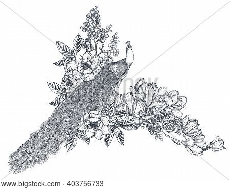 Vector Bouquet Of Hand Drawn Peacocks, Doodle Magnolia And Sakura Flowers. Beautiful Romantic Elegan