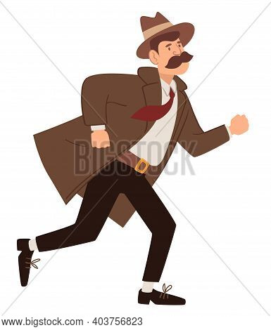Vintage Detective From Past, Running Man Vector