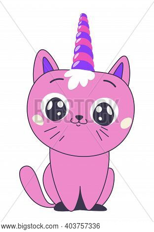 Cute Kitty With Unicorn Horn, Horned Car With Smile