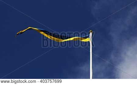The Swedish Flag As A Pennant Against A Blue Sky