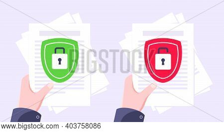 Privacy Policy, Safety Lock And Data Protection Metaphor Set. Shield With Padlock On The Paper With