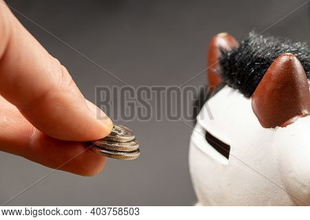 Hand Putting Coins To Piggy Bank. Business Idea Money To Hell Or Hell Money