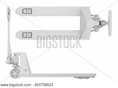 Clay Render Of Pallet Jack, Side And Top View Isolated On White Background - 3d Illustration