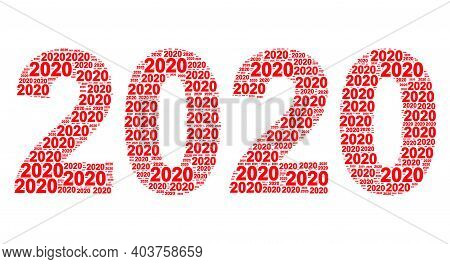 Vector 2020 Year Digits Collage Is Designed From Random Recursive 2020 Year Digits Items. Recursive