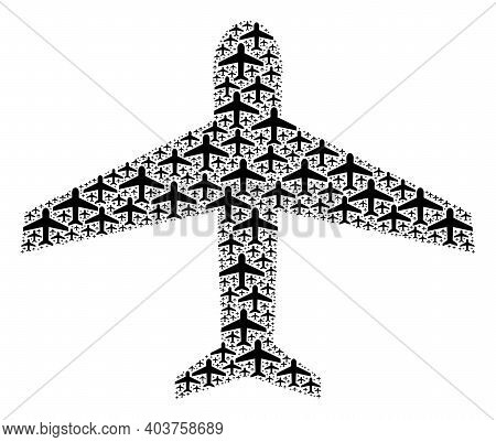 Vector Airplane Mosaic Is Created From Random Recursive Airplane Items. Recursive Combination From A