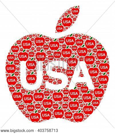 Vector American Apple Fractal Is Designed With Random Fractal American Apple Parts. Fractal Mosaic O