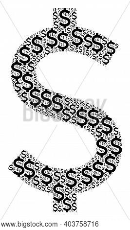 Vector American Dollar Collage Is Organized From Scattered Itself American Dollar Elements. Fractal