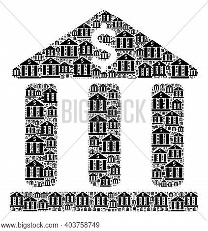 Vector Bank Building Composition Is Created Of Scattered Recursive Bank Building Items. Recursive Co