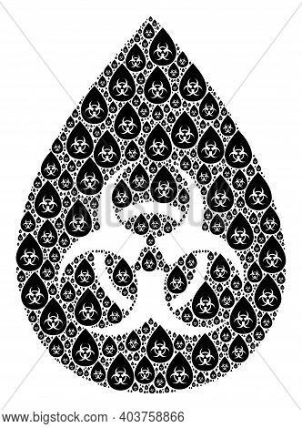 Vector Biohazard Drop Mosaic Is Composed Of Randomized Recursive Biohazard Drop Elements. Recursive