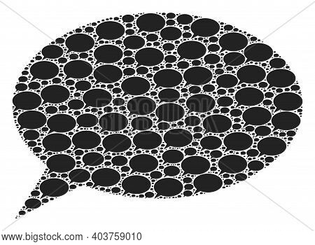 Vector Chat Cloud Composition Is Designed With Scattered Itself Chat Cloud Elements. Fractal Composi
