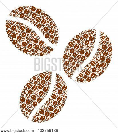 Vector Coffee Beans Mosaic Is Created From Repeating Itself Coffee Beans Parts. Fractal Mosaic From