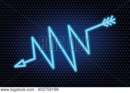 Arrow. Zigzag Indicator. Neon Glow. Vector Illustration. The Blue Symbol Indicates The Direction. Co