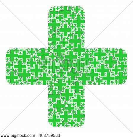 Vector Green Cross Collage Is Made From Randomized Fractal Green Cross Pictograms. Fractal Mosaic Fr