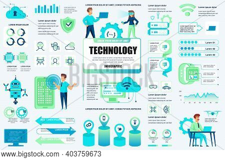Bundle New Technologies Infographic Ui, Ux, Kit Elements. Different Charts, Diagrams, It Service, Cl