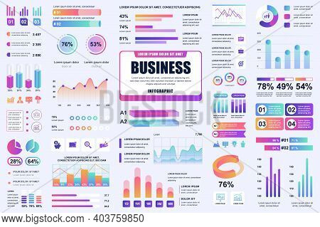 Bundle Business And Finance Infographic Ui, Ux, Kit Elements. Different Charts, Diagrams, Workflow,