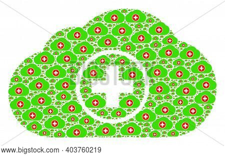 Vector Medical Cloud Fractal Is Formed From Repeating Fractal Medical Cloud Parts. Recursion Composi