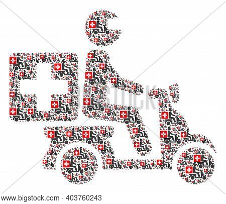 Vector Medical Motorbike Collage Is Constructed Of Repeating Recursive Medical Motorbike Pictograms.