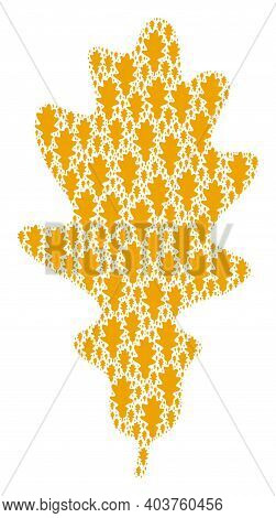 Vector Oak Leaf Fractal Is Organized Of Repeating Recursive Oak Leaf Icons. Recursive Composition Fo