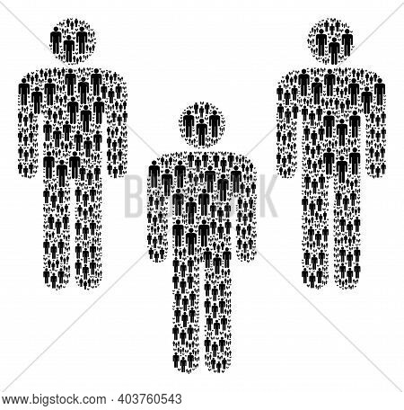 Vector People Crowd Fractal Is Organized Of Randomized Itself People Crowd Icons. Fractal Compositio