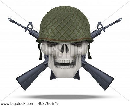 Skull With Usa Helmet And Rifles Cross. American Military For Labels And Patches. Helmet And M16 Rif