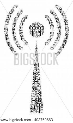 Vector Radio Tower Fractal Is Created Of Repeating Recursive Radio Tower Items. Fractal Collage Of R