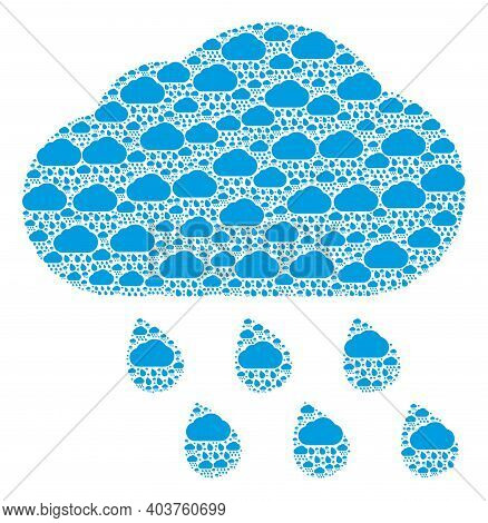 Vector Rain Cloud Fractal Is Done Of Scattered Fractal Rain Cloud Elements. Fractal Composition From