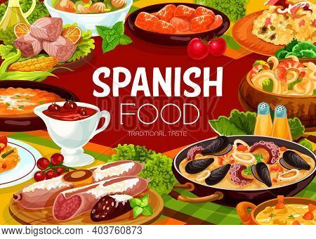 Spanish Food Cuisine Menu Paella And Tapas Seafood, Vector Restaurant Gourmet Meals. Spanish Cuisine