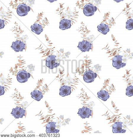 Vector Floral Seamless Pattern With Anemones At White Background, Hand Drawn Illustration
