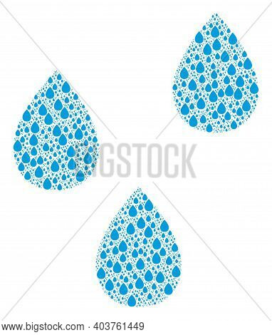Vector Water Drops Fractal Is Made Of Scattered Fractal Water Drops Pictograms. Fractal Mosaic For W
