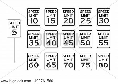 Speed Limit Road Traffic Icon Signs Set Flat Style Design Vector Illustration Isolated On White Back