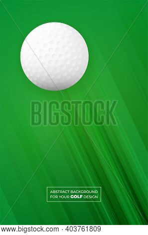 Abstract Green Background With Stripes And Golf Ball. Template For Your Sport Design. Vector Illustr