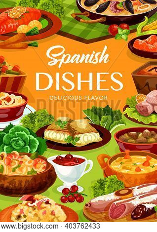 Spanish Food Cuisine Menu, Tapas And Paella Dish With Seafood And Fish, Vector Restaurant Lunch Meal