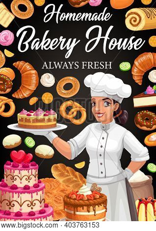 Bakery House Vector Poster. Confectioner In Patisserie Presenting Homemade Desserts, Cakes And Baker