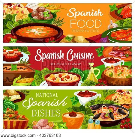 Spanish Food Banners, Cuisine Menu Paella And Tapas, Vector Spain Traditional Dishes And Meals. Span