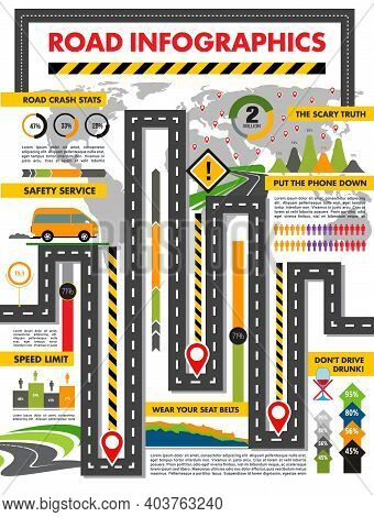 Road Infographics Vector Template. Transport And Traffic Safety Infographic, Highway With Signs And