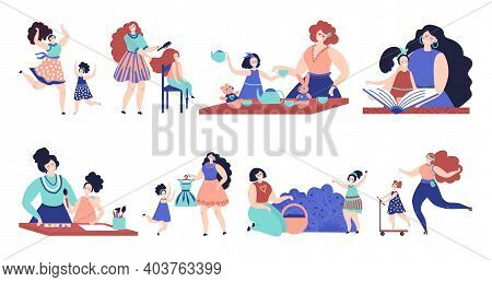 Mother And Daughter. Woman Love Child, Isolated Family People Hug. Fun Motherhood, Baby Mom Together