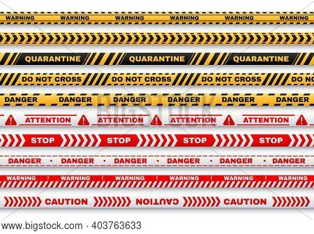 Security Warning Vector Tapes With Typography Quarantine, Caution, Do Not Cross, Stop, Danger For We